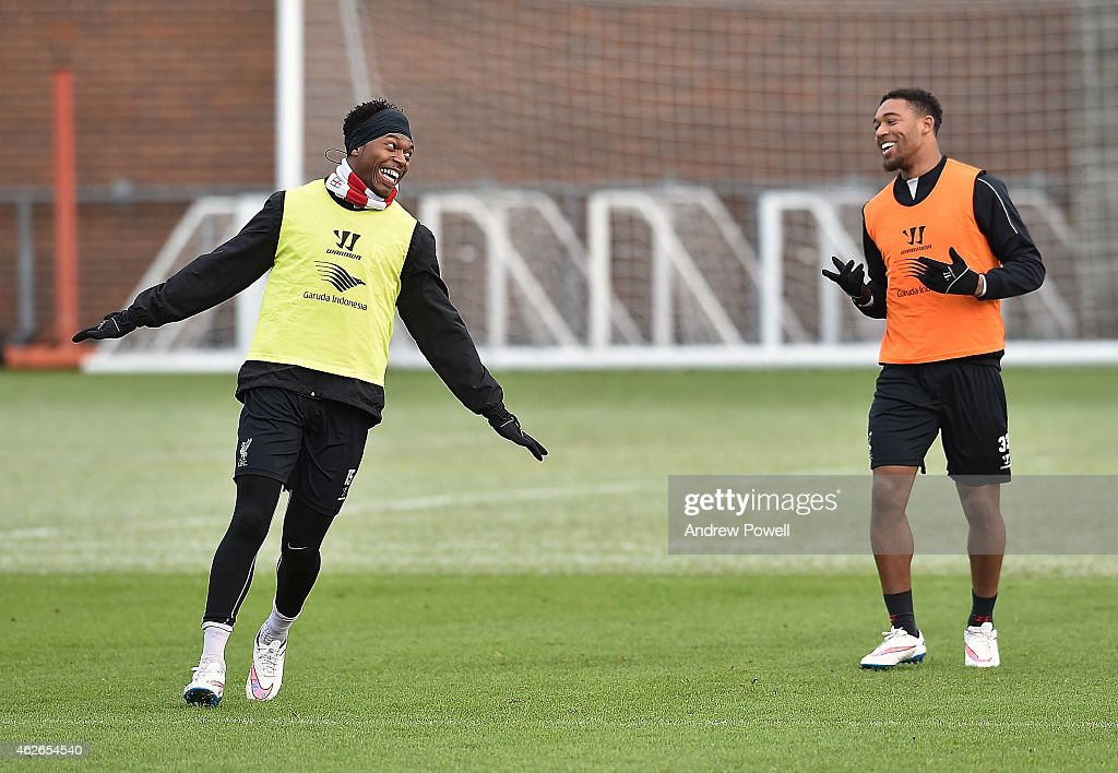 Jordon Ibe and Daniel Sturridge of Liverpool during a training session at Melwood Training Ground on February 2, 2015 in Liverpool, England.