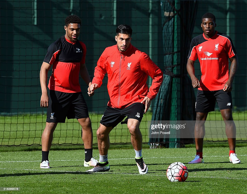 Jordon Ibe and Emre Can of Liverpool during a training session at Melwood Training Ground on March 31, 2016 in Liverpool, England.