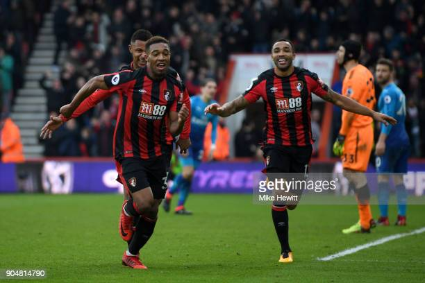 Jordon Ibe of AFC Bournemouth after scoring the second AFC Bournemouth goal during the Premier League match between AFC Bournemouth and Arsenal at...