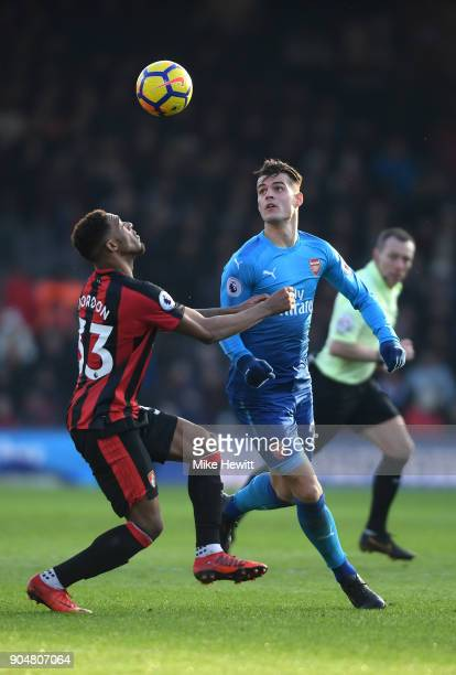 Jordon Ibe of AFC Bournemouth and Granit Xhaka of Arsenal in action during the Premier League match between AFC Bournemouth and Arsenal at Vitality...