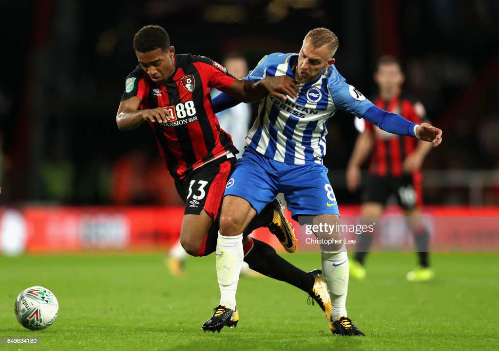 Jordon Ibe of AFC Bournemouth and Jiri Skalak of Brighton and Hove Albion battle for possession during the Carabao Cup Third Round match between AFC Bournemouth and Brighton and Hove Albion at Vitality Stadium on September 19, 2017 in Bournemouth, England.