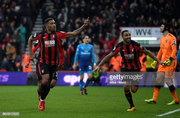 Jordon Ibe of AFC Bournemouth celebrates with team mate Callum Wilson after scoring the second AFC Bournemouth goal during the Premier League match...