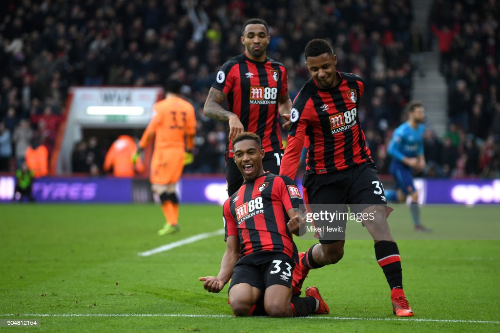 Jordon Ibe of AFC Bournemouth celebrates with team mates after scoring the second AFC Bournemouth goal during the Premier League match between AFC Bournemouth and Arsenal at Vitality Stadium on January 14, 2018 in Bournemouth, England.