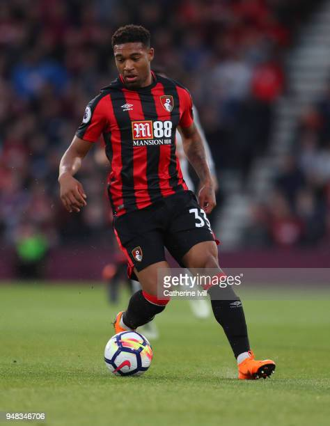 Jordon Ibe of AFC Bournemouth during the Premier League match between AFC Bournemouth and Manchester United at Vitality Stadium on April 18 2018 in...