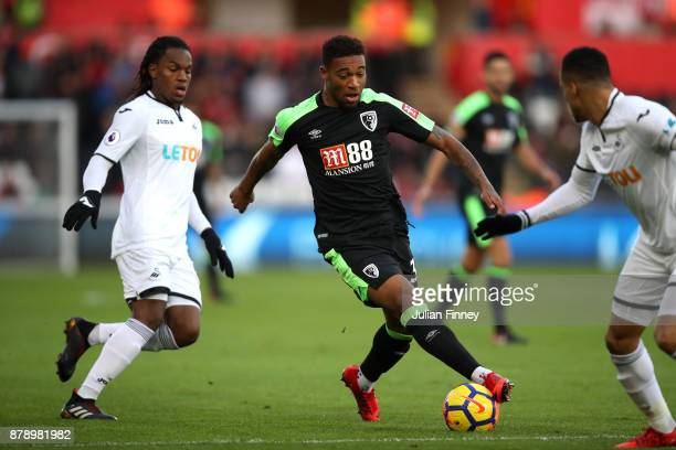 Jordon Ibe of AFC Bournemouth in action during the Premier League match between Swansea City and AFC Bournemouth at Liberty Stadium on November 25...