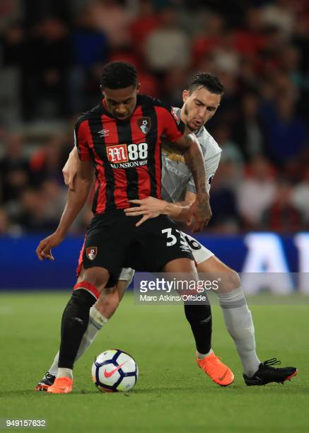 Jordon Ibe of AFC Bournemouth in action with Matteo Darmian of Manchester United during the Premier League match between AFC Bournemouth and...