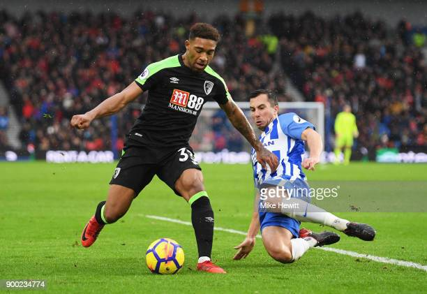 Jordon Ibe of AFC Bournemouth is challenged by Markus Suttner of Brighton and Hove Albion during the Premier League match between Brighton and Hove...