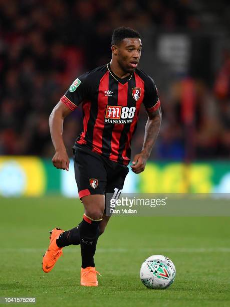 Jordon Ibe of AFC Bournemouth looks for space during the Carabao Cup Third Round match between AFC Bournemouth and Blackburn Rovers at Vitality...