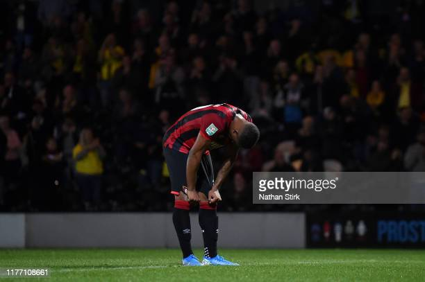 Jordon Ibe of AFC Bournemouth reacts after Burton Albion's second goal during the Carabao Cup Third Round match between Burton Albion and AFC...
