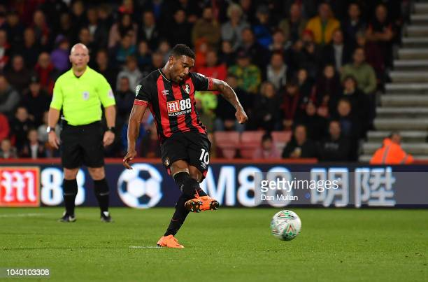 Jordon Ibe of AFC Bournemouth scores his side's second goal from the penalty spot during the Carabao Cup Third Round match between AFC Bournemouth...