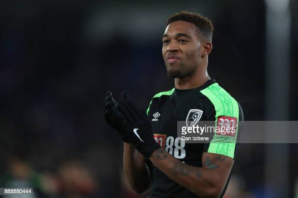 Jordon Ibe of AFC Bournemouth shows appreciation to the fans after the Premier League match between Crystal Palace and AFC Bournemouth at Selhurst...