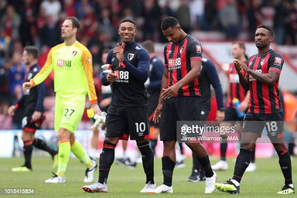 Jordon Ibe of Bournemouth and Lys Mousset of Bournemouth delighted at full time along with Jermain Defoe of Bournemouth during the Premier League...