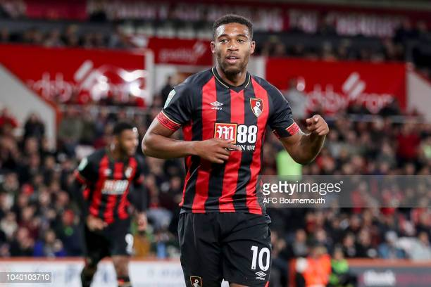 Jordon Ibe of Bournemouth celebrates after he scores from the spot to make it 20 during the Carabao Cup Third Round match between AFC Bournemouth and...