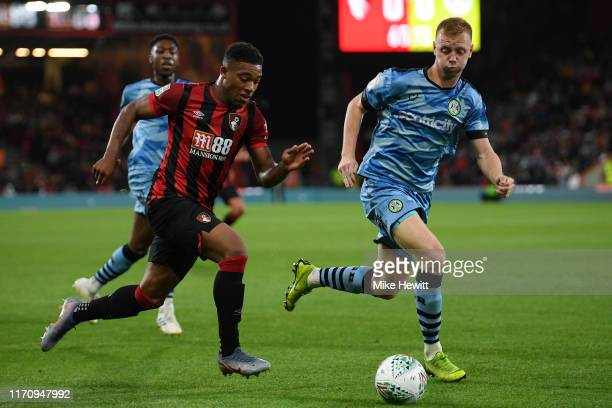 Jordon Ibe of Bournemouth in action during the Carabao Cup Second Round match between AFC Bournemouth and Forest Green Rovers at Vitality Stadium on...