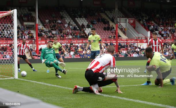 Jordon Ibe of Bournemouth scores a goal to make it 1-0 during the Pre-Season Friendly match between Brentford and AFC Bournemouth at Griffin Park on...