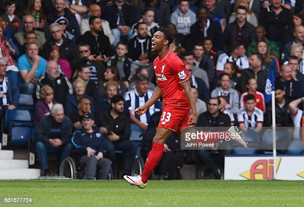 Jordon Ibe of Liverpool celebrates after an equalising goal during the Barclays Premier match between West Bromwich Albion and Liverpool at The...