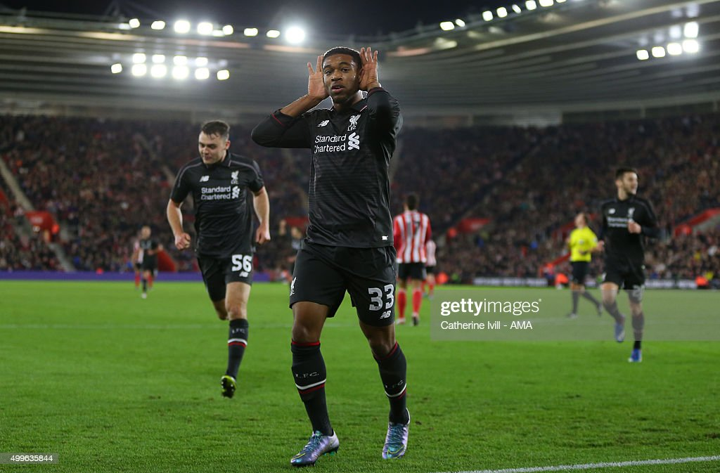 Jordon Ibe of Liverpool celebrates after he scores a goal to make it 1-5 during the Capital One Cup Quarter Final between Southampton and Liverpool at St Mary's Stadium on December 2, 2015 in Southampton, England.
