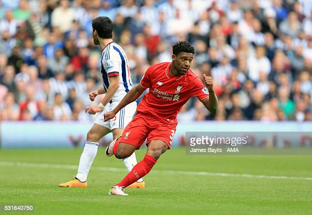 Jordon Ibe of Liverpool celebrates after scoring a goal to make it 1-1 during the Barclays Premier League match between West Bromwich Albion and...