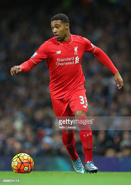 Jordon Ibe of Liverpool during the Barclays Premier League match between Manchester City and Liverpool at Etihad Stadium on November 21 2015 in...