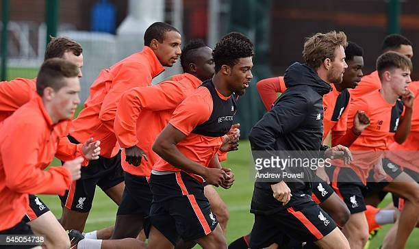 Jordon Ibe of Liverpool duringa training session at Melwood Training Ground on July 5 2016 in Liverpool England