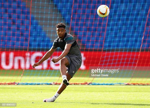 Jordon Ibe of Liverpool passes the ball during a Liverpool training session on the eve of the UEFA Europa League Final against Sevilla at St...