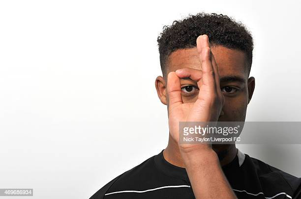 Jordon Ibe of Liverpool poses for a portrait at Melwood Training Ground on January 22, 2015 in Liverpool, England.