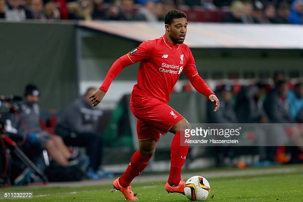 Jordon Ibe of Liverpool runs with the ball during the UEFA Europa League round of 32 first leg match between FC Augsburg and Liverpool at WWKArena on...