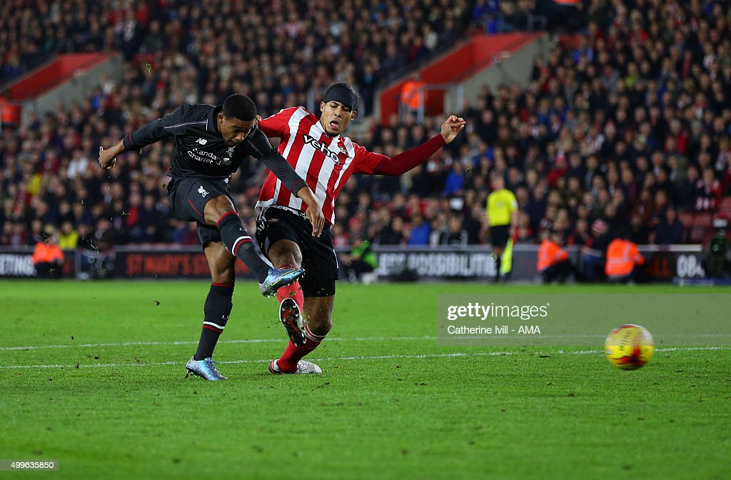 Jordon Ibe of Liverpool scores a goal to make it 1-5 during the Capital One Cup Quarter Final between Southampton and Liverpool at St Mary's Stadium on December 2, 2015 in Southampton, England.