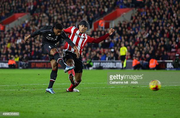 Jordon Ibe of Liverpool scores a goal to make it 1-5 during the Capital One Cup Quarter Final between Southampton and Liverpool at St Mary's Stadium...
