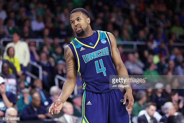 Jordon Talley of the North CarolinaWilmington Seahawks reacts in the first half against the Duke Blue Devils during the first round of the 2016 NCAA...