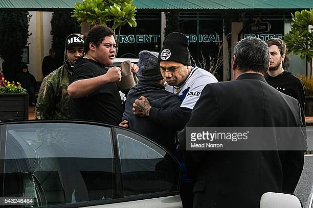 Jordon Tawa Rangitoheriri baby Moko's father being consoled after hearing the verdict given to the killers of his son on June 27 2016 in Rotorua New...