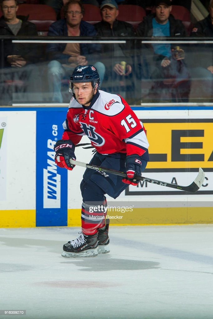 Jordy Bellerive #15 of the Lethbridge Hurricanes skates against the Kelowna Rockets at Prospera Place on January 17, 2018 in Kelowna, Canada.