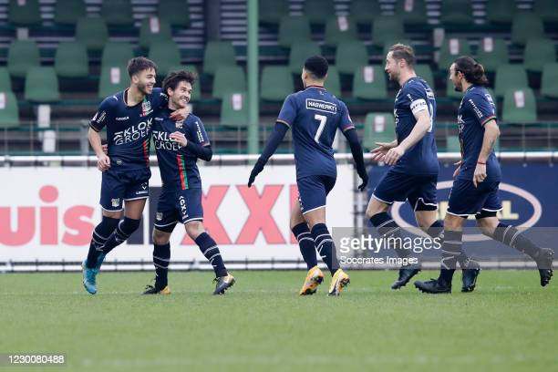 Jordy Bruijn of NEC celebrate his goal 0-1, oa Souffian El Karouani of NEC, Elayis Tavsan of NEC, Rens van Eijden of NEC, Edgar Barreto of NEC during...
