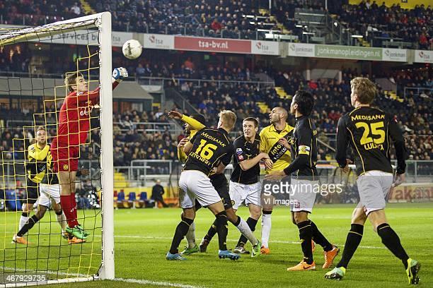 Jordy Buijs of NAC Breda goalkeeper Filip Kurto of Roda JC Rydell Poepon of NAC Breda Timo Letschert of Roda JC Bart Biemans of Roda JC Joey Suk of...