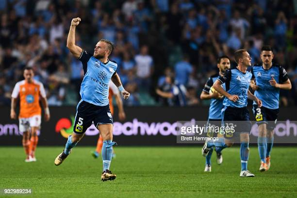 Jordy Buijs of Sydney celebrates after a Sydney goal during the round 23 ALeague match between Sydney FC and the Brisbane Roar at Allianz Stadium on...