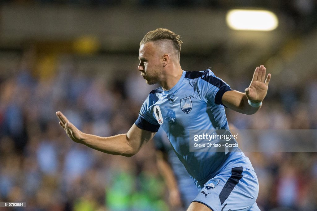 Jordy Buijs of Sydney FC celebrates kicking a goal during the FFA Cup Quarter Final match between Sydney FC and Melbourne City at Leichhardt Oval on September 13, 2017 in Sydney, Australia.