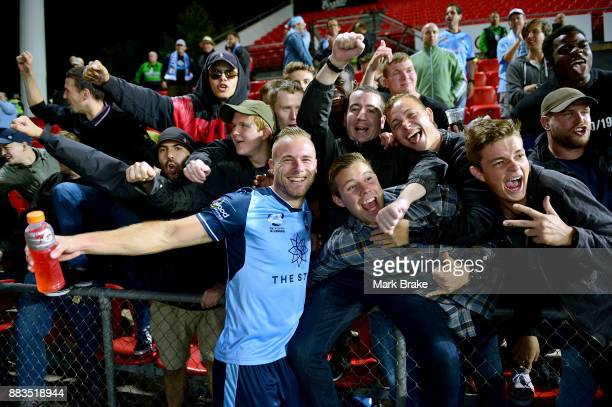 Jordy Buijs of Sydney FC celebrates with Sydney fans after the round nine ALeague match between the Adelaide 36ers and the Sydney Kings at Coopers...