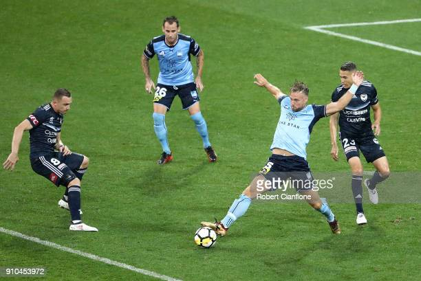 Jordy Buijs of Sydney FC controls the ball during the round 18 ALeague match between Melbourne Victory and Sydney FC at AAMI Park on January 26 2018...
