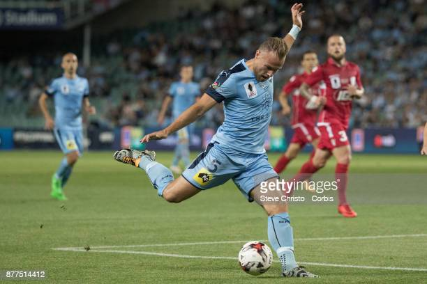 Jordy Buijs of Sydney FC crosses the ball during the FFA Cup Final match between Sydney FC and Adelaide United at Allianz Stadium on November 21 2017...