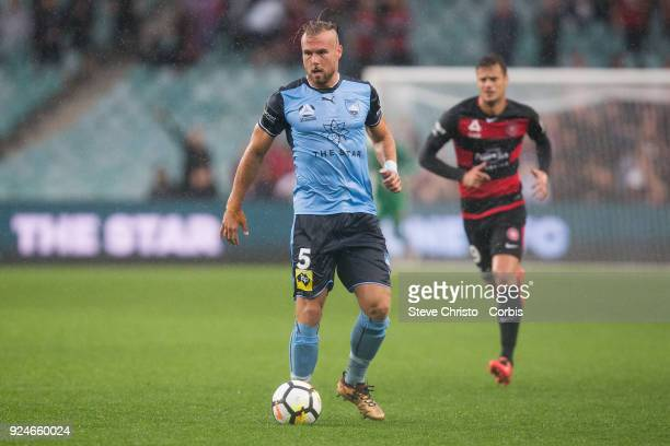 Jordy Buijs of Sydney FC dribbles the ball during the round 21 ALeague match between Sydney FC and the Western Sydney Wanderers at Allianz Stadium on...