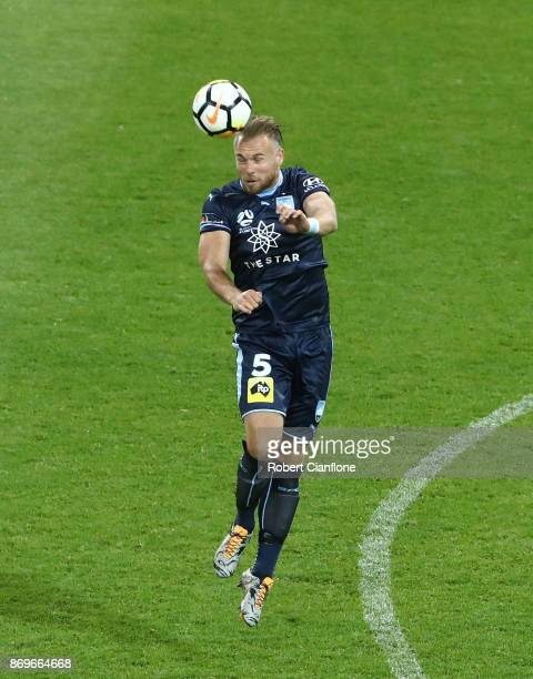 Jordy Buijs of Sydney FC heads the ball during the round five ALeague match between Melbourne City FC and Sydney FC at AAMI Park on November 3 2017...