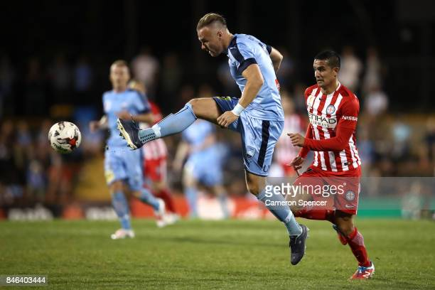 Jordy Buijs of Sydney FC kicks during the FFA Cup Quarter Final match between Sydney FC and Melbourne City at Leichhardt Oval on September 13, 2017...