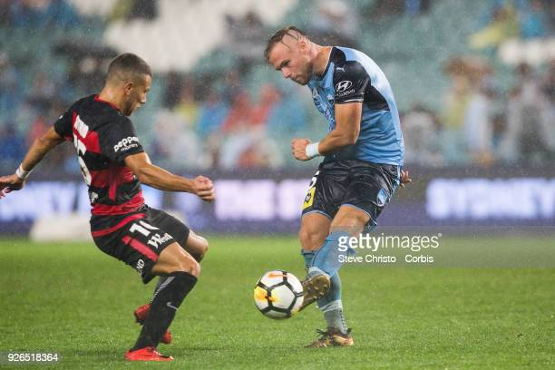 Jordy Buijs of Sydney FC passes the ball during the round 21 ALeague match between Sydney FC and the Western Sydney Wanderers at Allianz Stadium on...