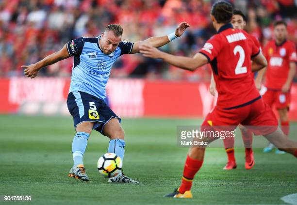 Jordy Buijs of Sydney FC shoots for goal during the round 16 ALeague match between Adelaide United and Sydney FC at Coopers Stadium on January 14...
