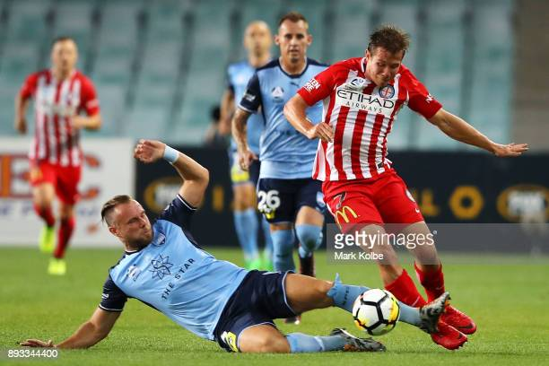 Jordy Buijs of Sydney FC tackles Nick Fitzgerald of City FC during the round 11 ALeague match between Sydney FC and Melbourne City FC at Allianz...