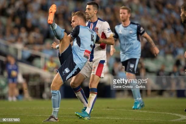 Jordy Buijs of Sydney FC takes a shot a goal during the round fourteen ALeague match between the Sydney FC and Newcastle Jets FC at Allianz Stadium...