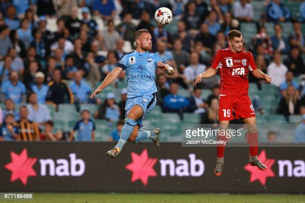 Jordy Buijs of Sydney heads the ball during the FFA Cup Final match between Sydney FC and Adelaide United at Allianz Stadium on November 21 2017 in...