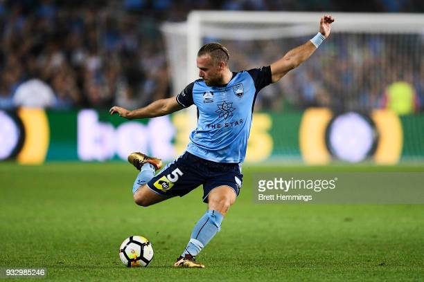 Jordy Buijs of Sydney passes the ball during the round 23 ALeague match between Sydney FC and the Brisbane Roar at Allianz Stadium on March 17 2018...