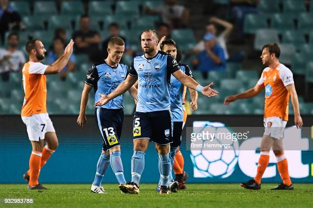 Jordy Buijs of Sydney reacts after a Brisbane goal during the round 23 ALeague match between Sydney FC and the Brisbane Roar at Allianz Stadium on...