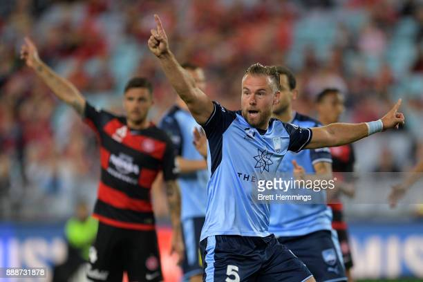 Jordy Buijs of Sydney reacts to a Sydney goal during the round 10 ALeague match between the Western Sydney Wanderers and Sydney FC at ANZ Stadium on...
